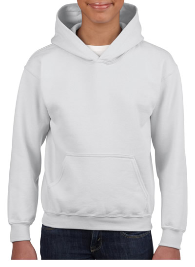 18500B Heavy Blend Youth Hooded Sweatshirt - White