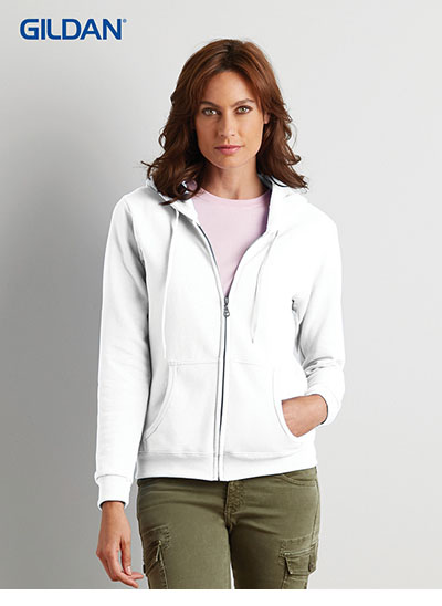 18600FL Heavy Blend Missy Fit Full Zip Hooded Sweatshirt - White Style
