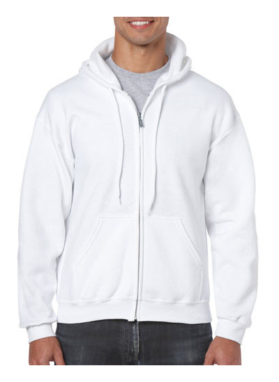 18600 Heavy Blend Adult Full Zip hooded Sweatshirt - White