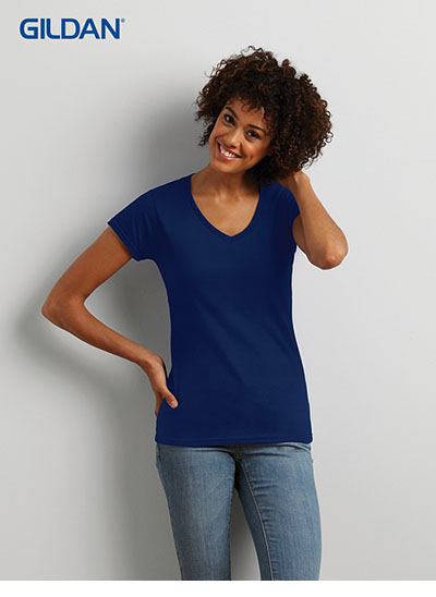 64V00L Soft Style Ladies Euro Fit Adult V-Neck T Shirt