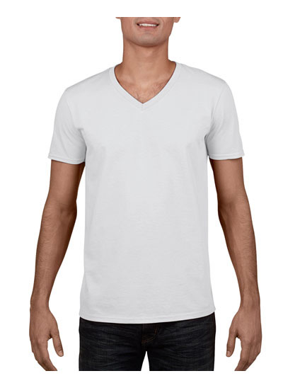 64V00 Soft Style Euro Fit Adult V-Neck T Shirt - White