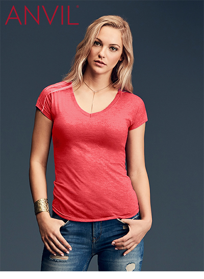 6750VL Tri-Blend Ladies V-Neck