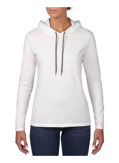 887L Women's Lightweight Long Sleeve Hooded Tee - White